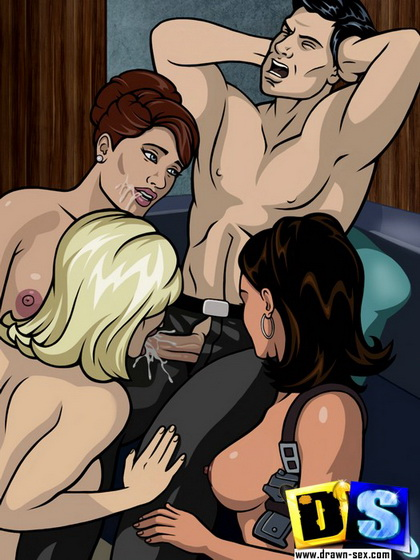 drawnsex James Bond - three babes one dick