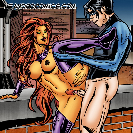 Starfire & Nightwing - hot passionate sex
