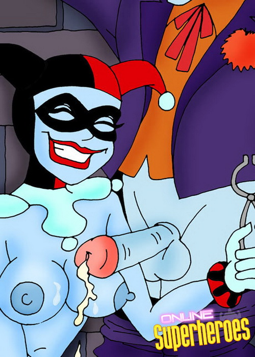 Tied Joker spraying cum on Harleys tits from Superheroes porn  category