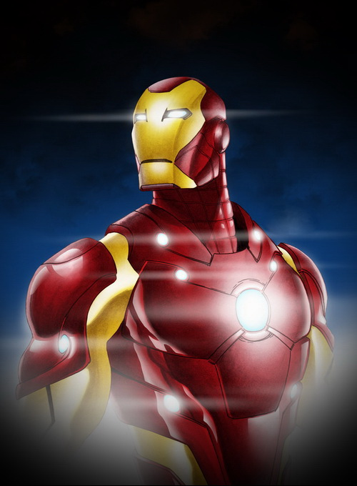 Iron Man enjoys the hard nipples and big tits on Black Widow from Superheroes porn  category