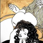 Awesome old fashioned threesome is in vintage sex comics from Vintage Cartoon  category